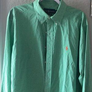 Green and white Ralph Lauren XL long sleeve Polo
